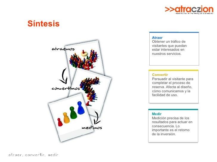 Síntesis Convertir Persuadir al visitante para completar el proceso de reserva. Afecta al diseño, cómo comunicamos y la fa...