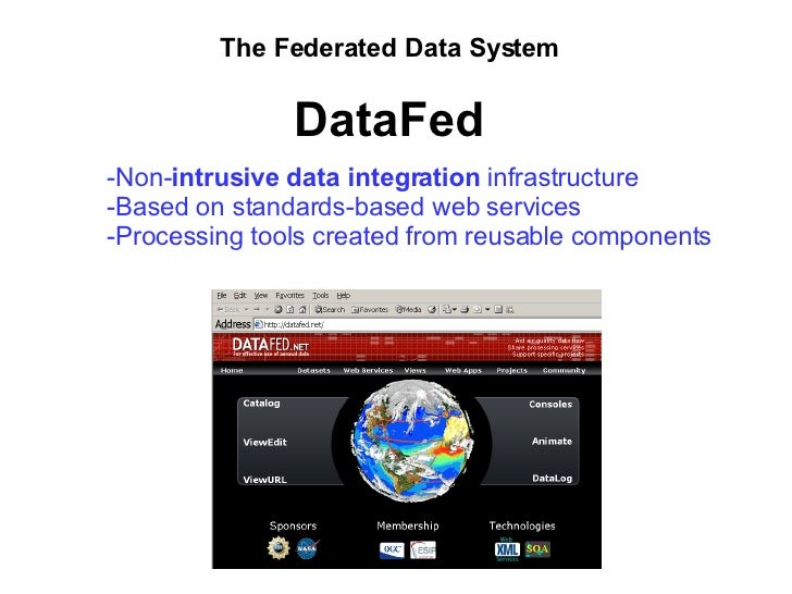 The Federated Data System DataFed <ul><li>Non- intrusive data integration  infrastructure </li></ul><ul><li>Based on stand...