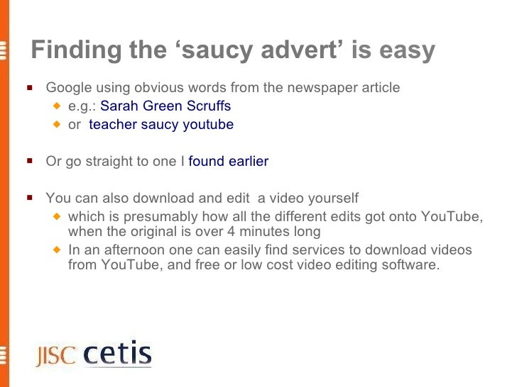 Finding the 'saucy advert' is easy    Google using obvious words from the newspaper article       e.g.: Sarah Green Scru...