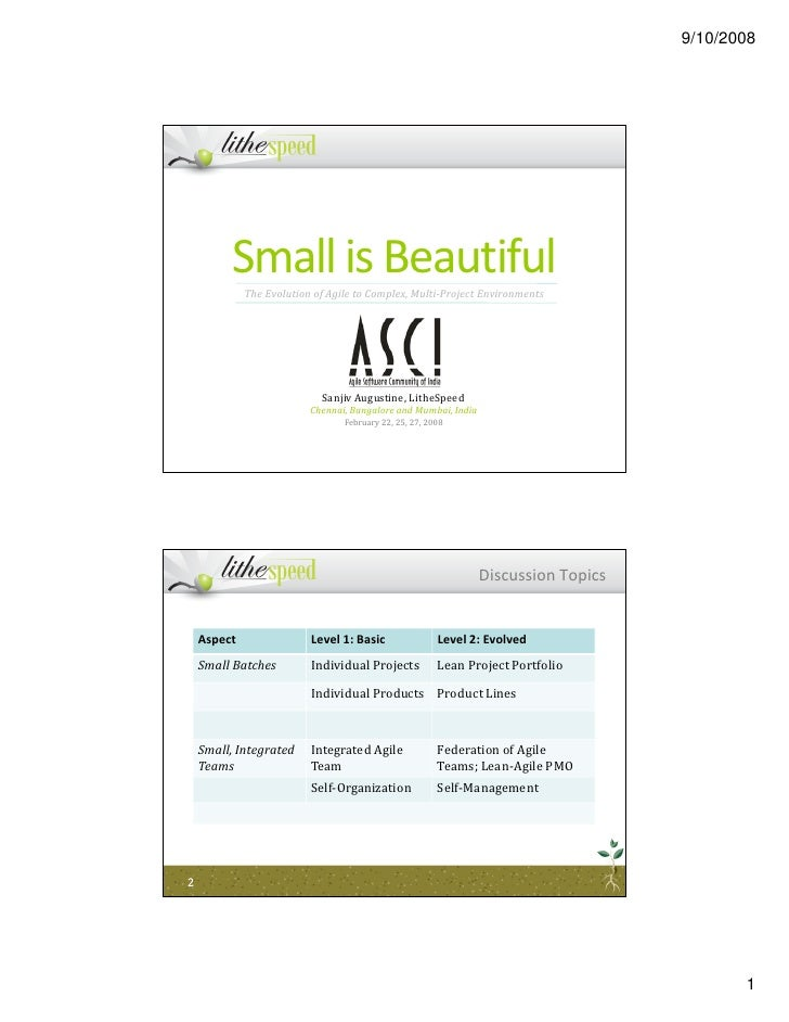 9/10/2008              Small is Beautiful              The Evolution of Agile to Complex, Multi-Project Environments      ...
