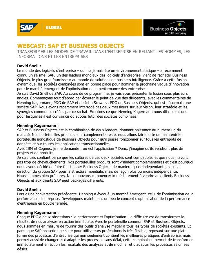 WEBCAST: SAP ET BUSINESS OBJECTS TRANSFORMER LES MODES DE TRAVAIL DANS L'ENTREPRISE EN RELIANT LES HOMMES, LES INFORMATION...