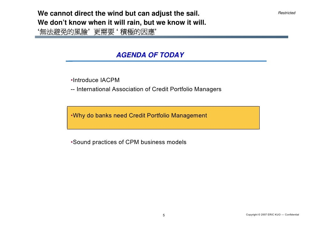 Credit Portfolio Business Model Amp Iacpm Introduction