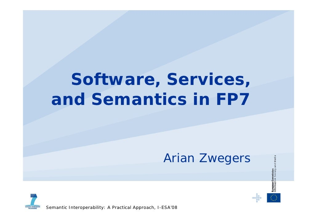 Software, Services,   and Semantics in FP7                                                     Arian Zwegers   Semantic In...