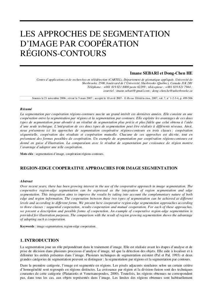 LES APPROCHES DE SEGMENTATIOND'IMAGE PAR COOPÉRATIONRÉGIONS-CONTOURS                                                      ...