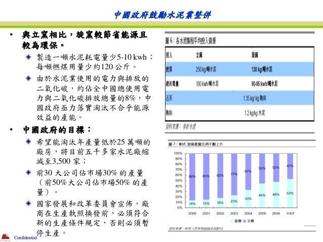 中國政府鼓勵水泥業整併•    與立窯相比,旋窯較節省能源且     較為環保。        製造一噸水泥耗電量少5-10 kwh;        每噸燃煤用量少約120 公斤。        由於水泥業使用的電力與排放的        二氧...