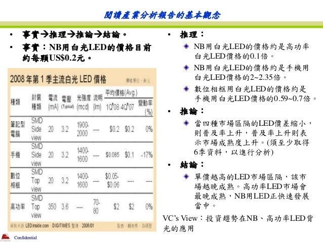 閱讀產業分析報告的基本觀念•       事實推理推論結論。       •   推理:•       事實:NB用白光LED的價格目前        NB用白光LED的價格約是高功率        約每顆US$0.2元。        ...