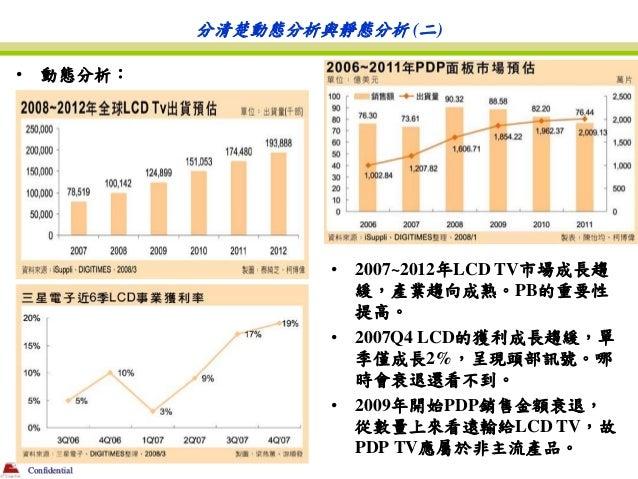 分清楚動態分析與靜態分析 (二)•      動態分析:                           •   2007~2012年LCD TV市場成長趨                               緩,產業趨向成熟。PB...