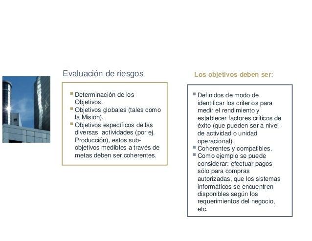 Determinación de los Objetivos. Objetivos globales (tales como la Misión). Objetivos específicos de las diversas actividad...