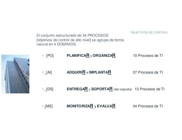 OBJETIVOS DE CONTROL El conjunto estructurado de 34 PROCESOS [objetivos de control de alto nivel] se agrupa de forma natur...