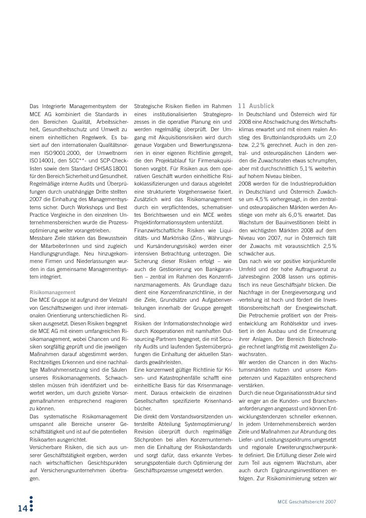Das Integrierte Managementsystem der Strategische Risiken fließen im Rahmen 11 Ausblick      MCE AG kombiniert die Standar...