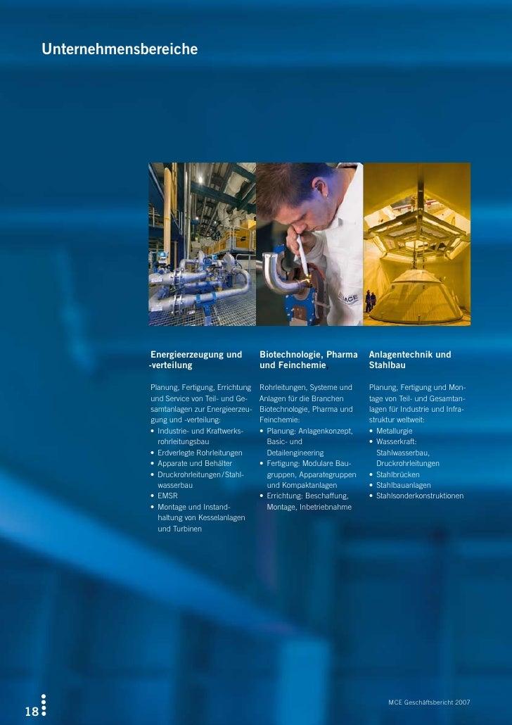 Unternehmensbereiche                        Energieerzeugungund           Biotechnologie,Pharma Anlagentechnikund   ...