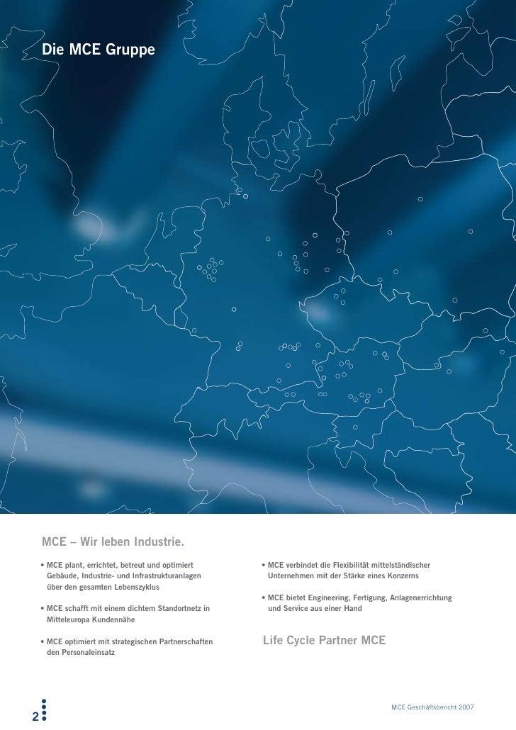 Die MCE Gruppe         MCE – Wir leben Industrie.     •MCEplant,errichtet,betreutundoptimiert      •MCEverbindet...