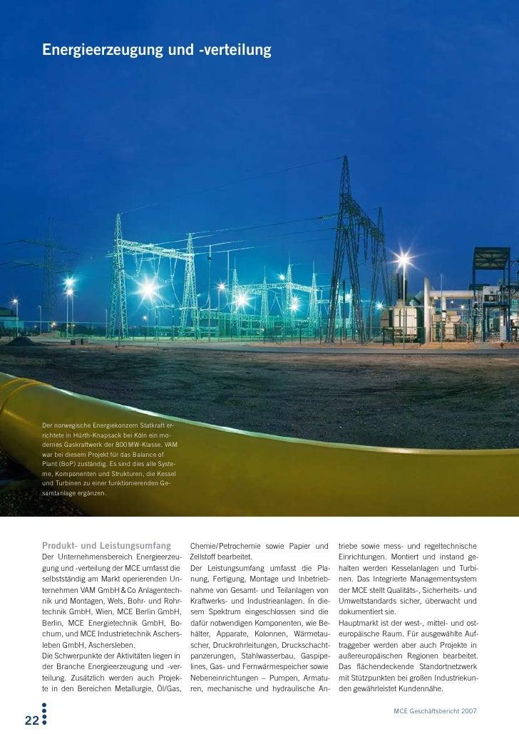 Energieerzeugung und -verteilung          Der norwegische Energiekonzern Statkraft er-      richtete in Hürth-Knapsack bei...