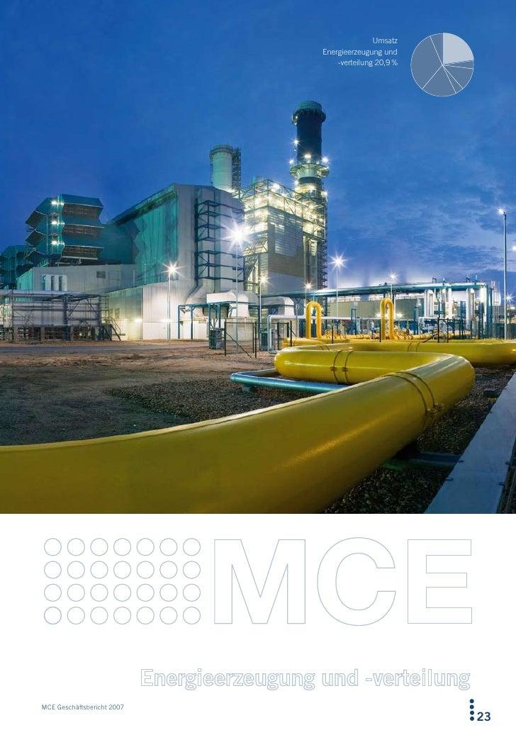 Umsatz                             Energieerzeugung und                                 -verteilung 20,9 %     MCE Geschäf...