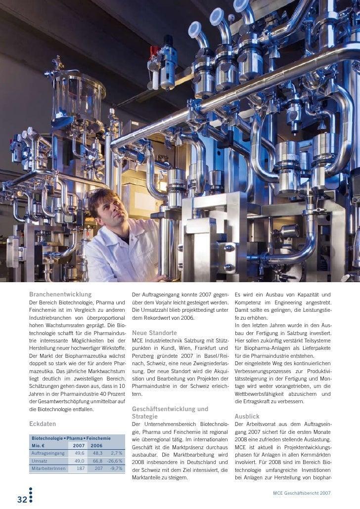 Branchenentwicklung                             Der Auftragseingang konnte 2007 gegen-       Es wird ein Ausbau von Kapazi...