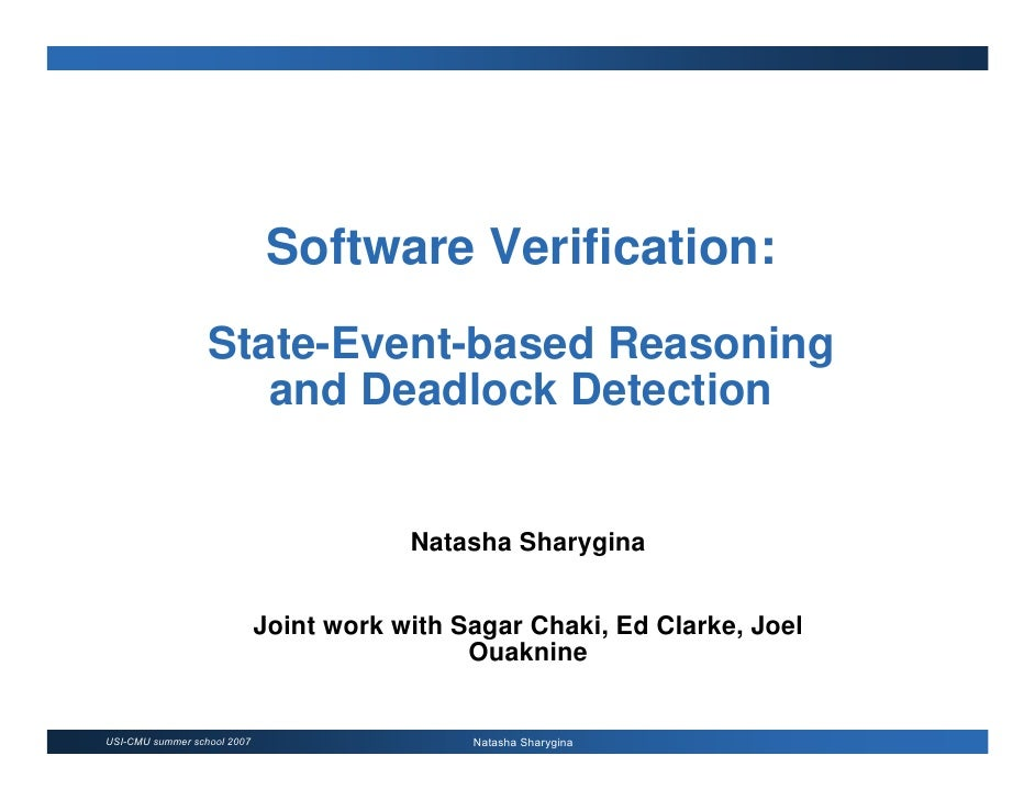 Software Verification:                   State-Event-based Reasoning                      and Deadlock Detection          ...