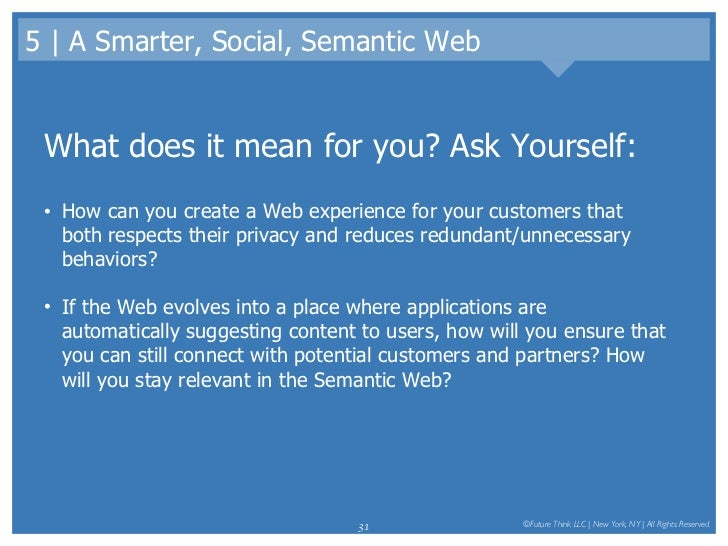 5   A Smarter, Social, Semantic Web <ul><li>What does it mean for you? Ask Yourself: </li></ul><ul><li>How can you create ...