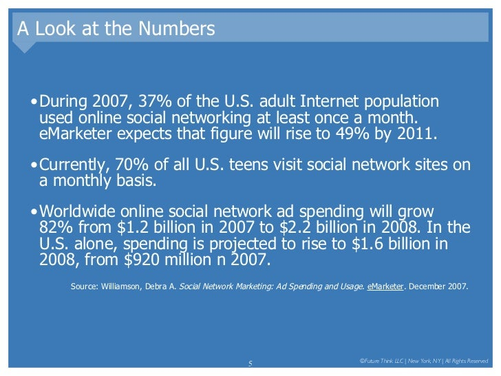A Look at the Numbers <ul><li>During 2007, 37% of the U.S. adult Internet population used online social networking at leas...