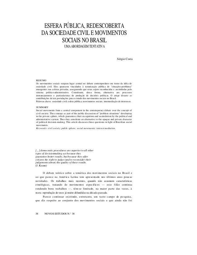 ESFERA PÚBLICA, REDESCOBERTA DA SOCIEDADE CIVIL E MOVIMENTOS SOCIAIS NO BRASIL UMA ABORDAGEM TENTATIVA  Sérgio Costa  RESU...