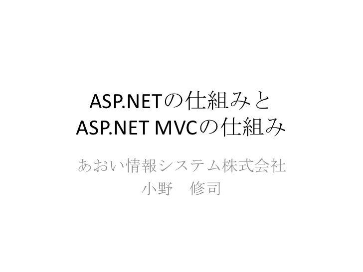 ASP.NETの仕組みとASP.NET MVCの仕組みあおい情報システム株式会社    小野 修司