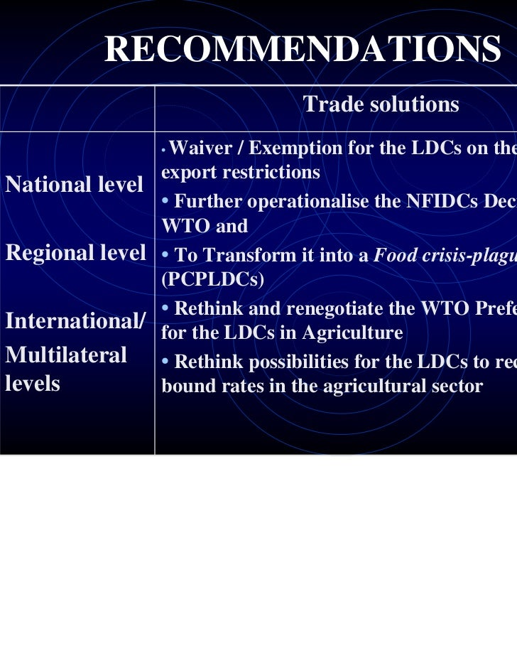 RECOMMENDATIONS                                Trade solutions                Waiver / Exemption for the LDCs on the food ...