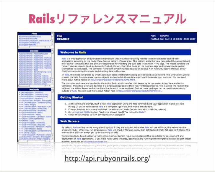 Railsリファレンスマニュアル http://api.rubyonrails.org/