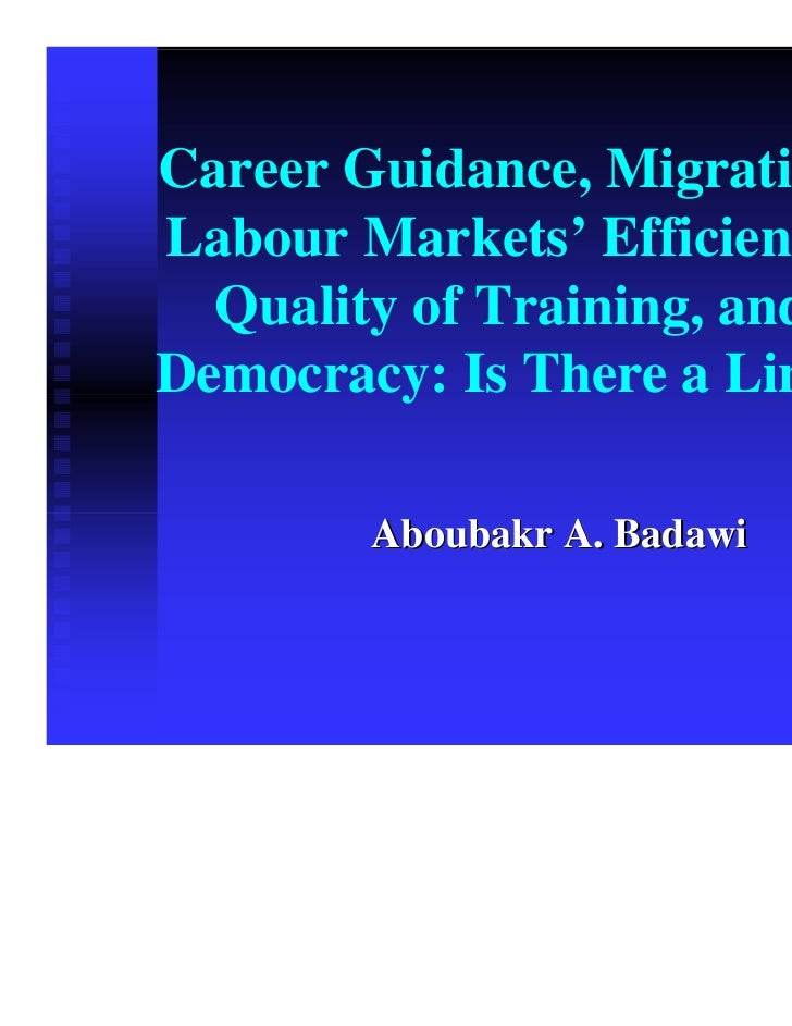 Career Guidance, Migration,Labour Markets' Efficiency,  Quality of Training, andDemocracy: Is There a Link?        Aboubak...