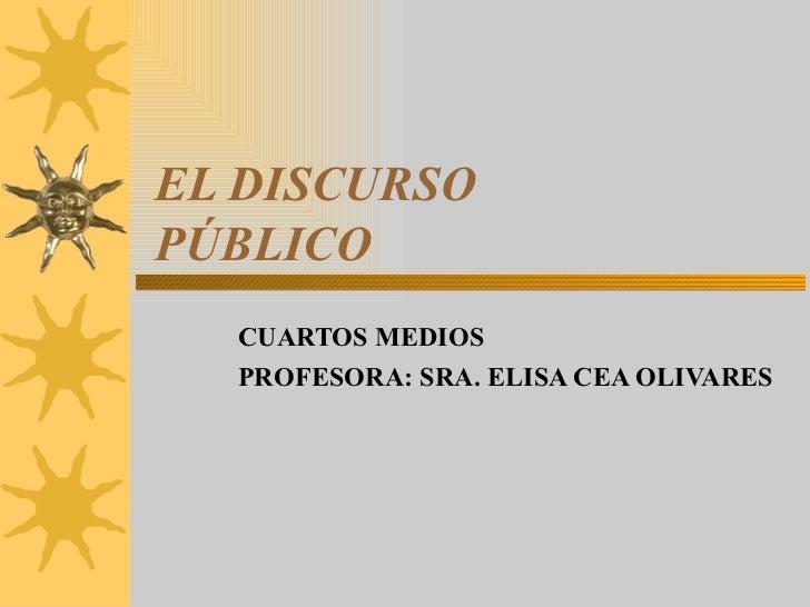 EL DISCURSO PÚBLICO CUARTOS MEDIOS  PROFESORA: SRA. ELISA CEA OLIVARES