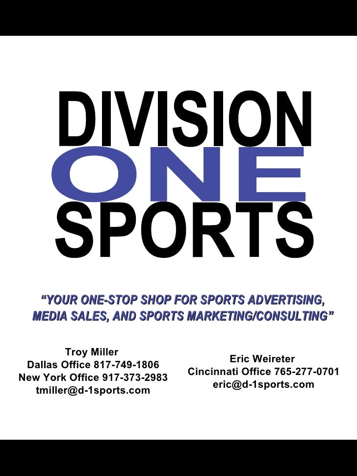 """ YOUR ONE-STOP SHOP FOR SPORTS ADVERTISING, MEDIA SALES, AND SPORTS MARKETING/CONSULTING"" Eric Weireter  Cincinnati Offic..."