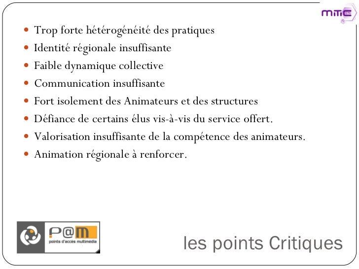 les points Critiques <ul><li>Trop forte hétérogénéité des pratiques </li></ul><ul><li>Identité régionale insuffisante </li...