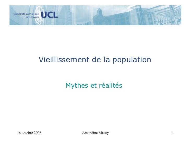 Vieillissement de la population Mythes et réalités