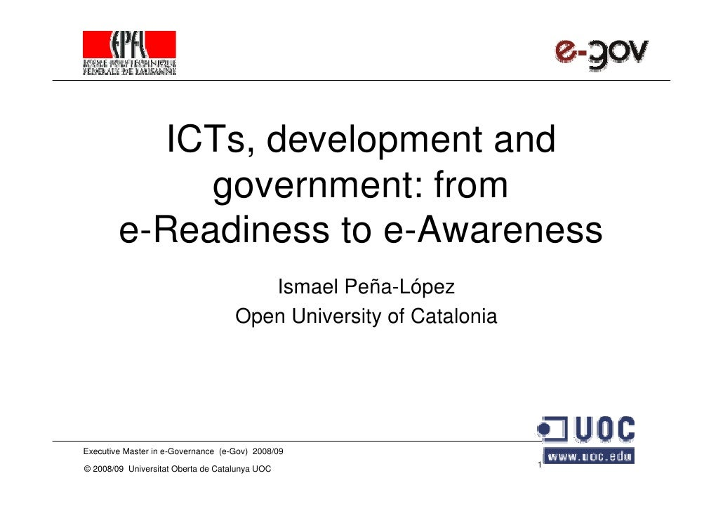 ICTs, development and              government: from         e-Readiness to e-Awareness                                    ...