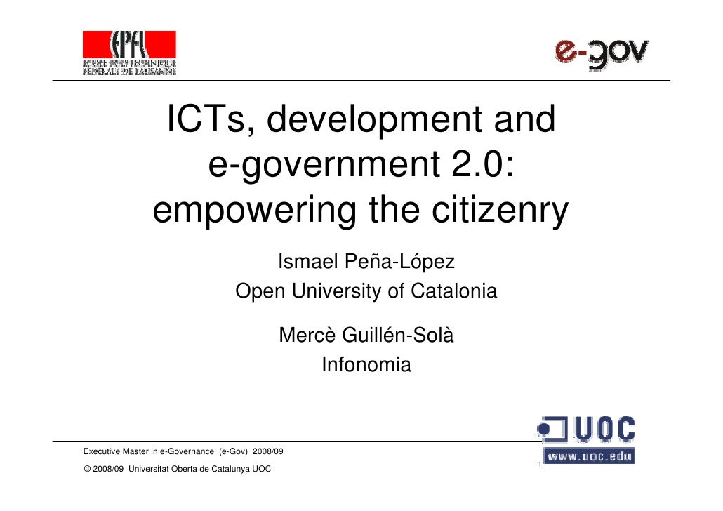 ICTs, development and                    e-government 2.0:                 empowering the citizenry                       ...