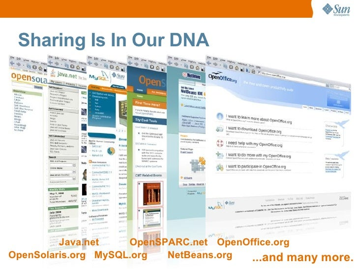 Sharing Is In Our DNA              Java.net    OpenSPARC.net OpenOffice.org OpenSolaris.org MySQL.org  NetBeans.org  ...an...