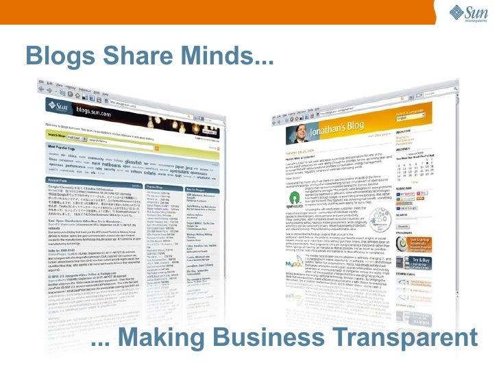 Blogs Share Minds...          ... Making Business Transparent