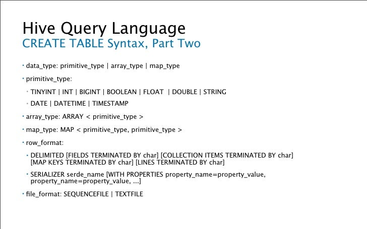 Hive Query Language ALTER TABLE Syntax ▪   ALTER TABLE table_name RENAME TO new_table_name; ▪   ALTER TABLE table_name ADD...