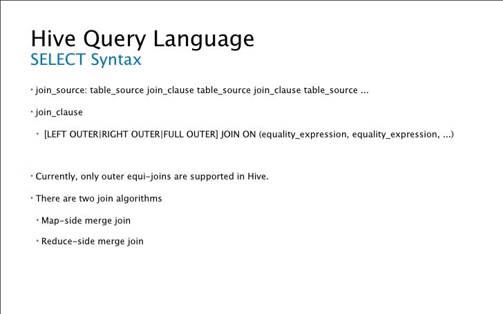 Hive Query Language Building a Histogram of Review Counts ▪   CREATE TABLE review_counts (userid INT, review_count INT); ▪...