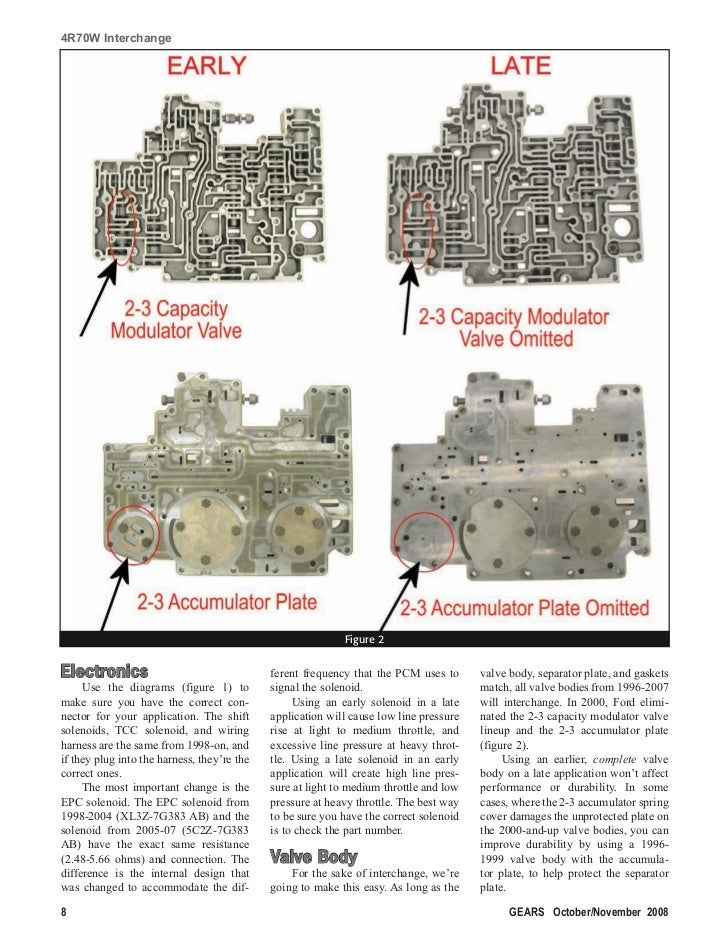 4r70w interchange 4r70w Valve Body Diagram