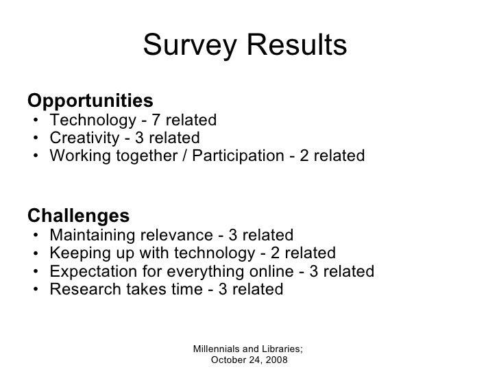 Survey Results  <ul><li>Opportunities </li></ul><ul><ul><li>Technology - 7 related </li></ul></ul><ul><ul><li>Creativity -...