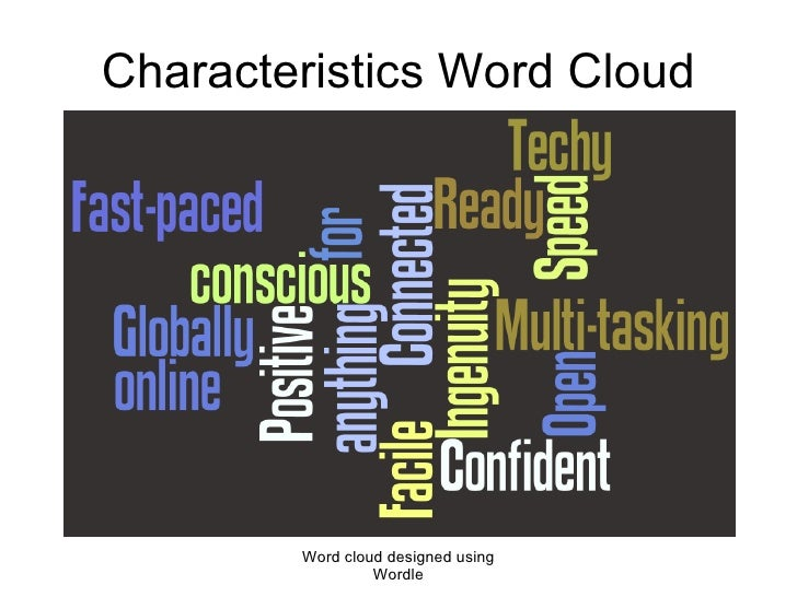 Characteristics Word Cloud Word cloud designed using Wordle