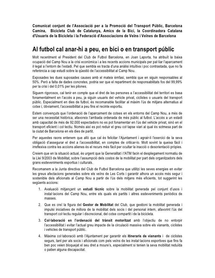 Comunicat conjunt de l'Associació per a la Promoció del Transport Públic, Barcelona Camina, Bicicleta Club de Catalunya, A...