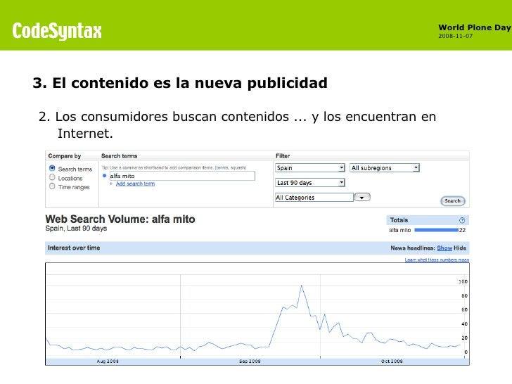 <ul><li>2. Los consumidores buscan contenidos ... y los encuentran en Internet. </li></ul>3. El contenido es la nueva publ...