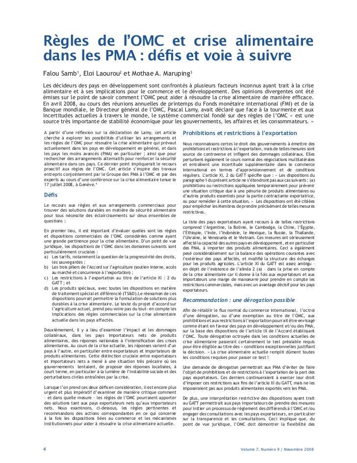 Règles de l·OMC et crise alimentairedans les PMA : dé s et voie à suivreFalou Samb1, Eloi Laourou2 et Mothae A. Maruping3L...