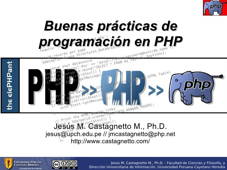 Buenas prácticas de programación en PHP                                              p';                                  ...
