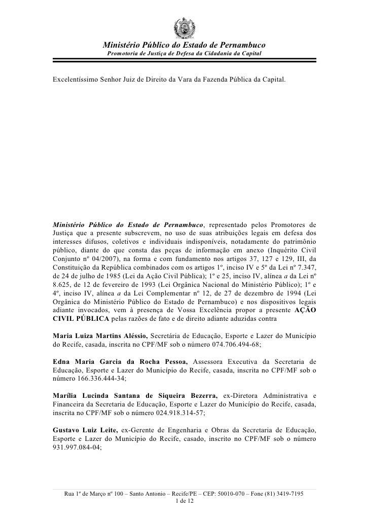 Ministério Público do Estado de Pernambuco                    Promotoria de Justiça de Defesa da Cidadania da Capital   Ex...
