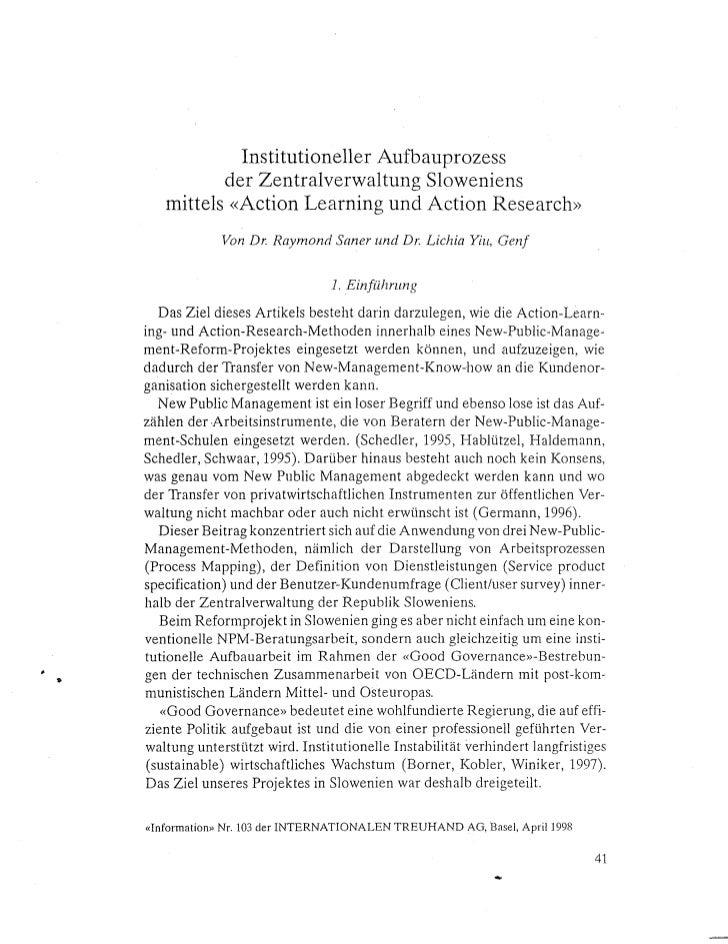 Institutioneller Autbauprozess              der Zentralverwaltung Sloweniens       mitteis «Action Learning and Action Res...