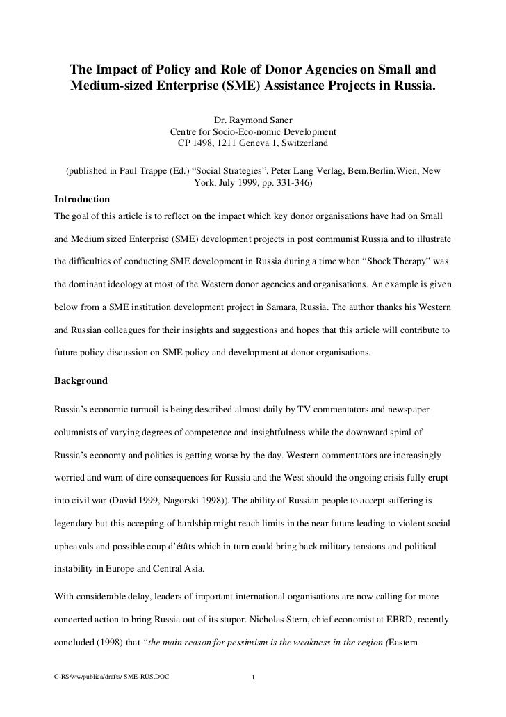 The Impact of Policy and Role of Donor Agencies on Small and    Medium-sized Enterprise (SME) Assistance Projects in Russi...