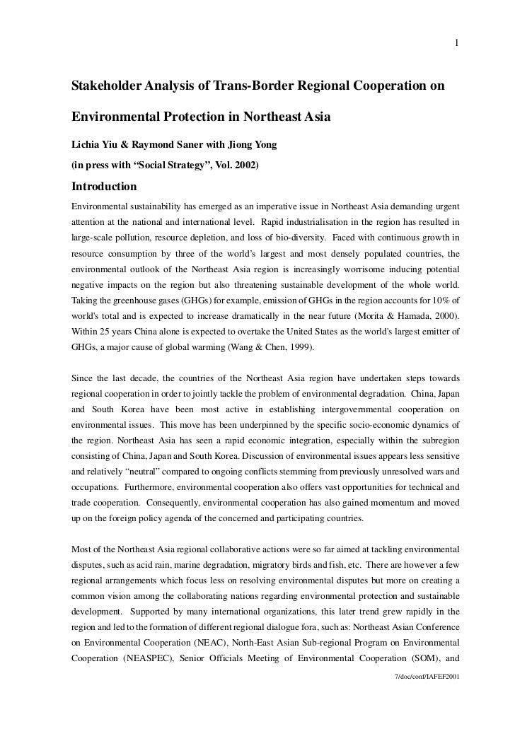 1Stakeholder Analysis of Trans-Border Regional Cooperation onEnvironmental Protection in Northeast AsiaLichia Yiu & Raymon...