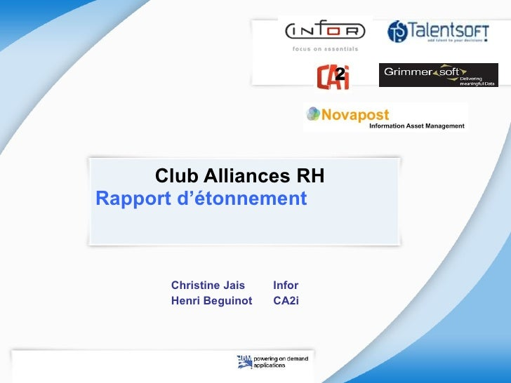 Club Alliances RH  Rapport d'étonnement  Christine Jais Infor Henri Beguinot CA2i