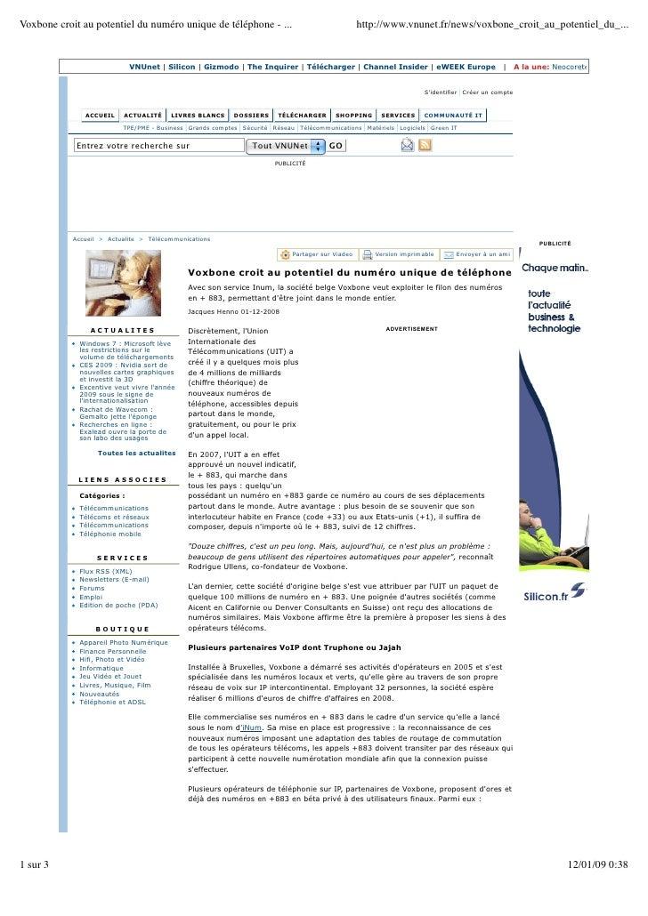 Voxbone croit au potentiel du numéro unique de téléphone - ...                                   http://www.vnunet.fr/news...